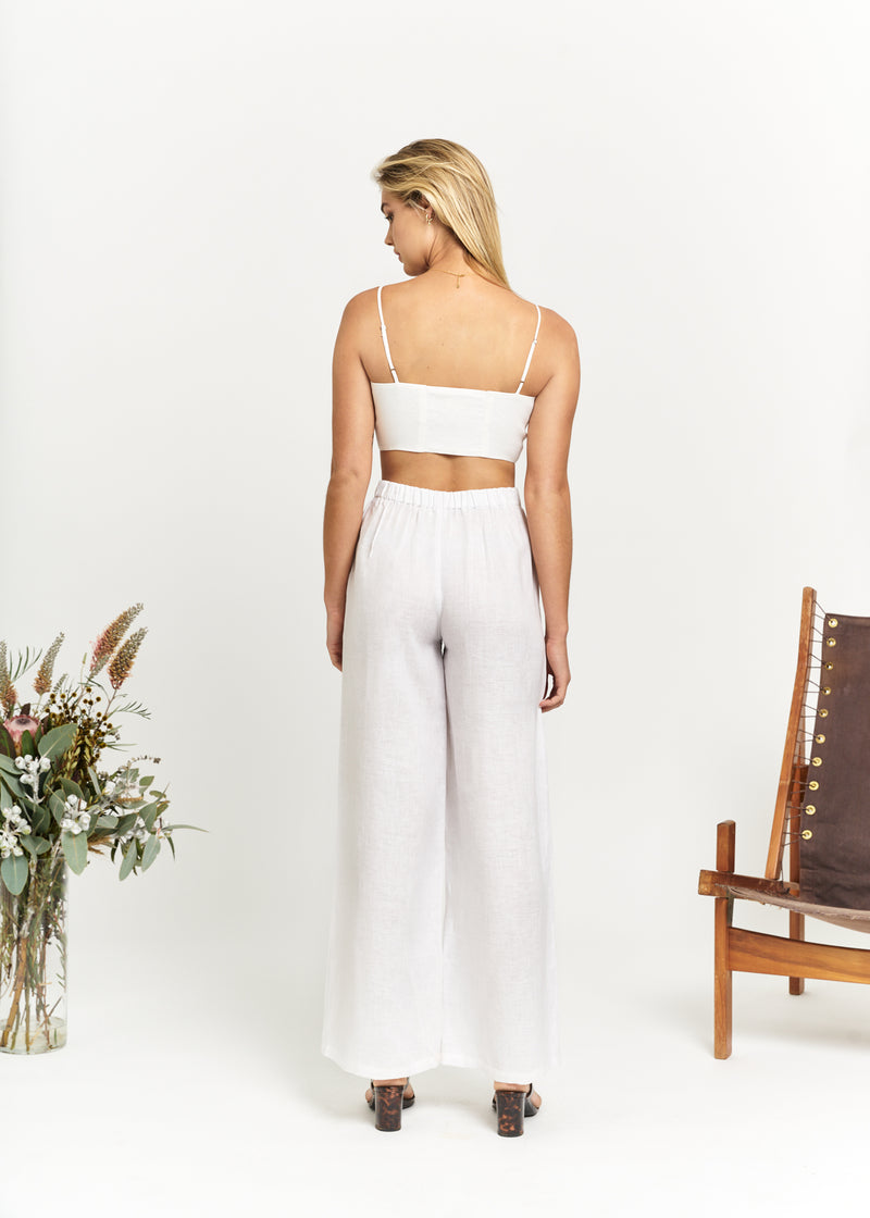 Marlo by Marlo Linen Lounge Pants White Back