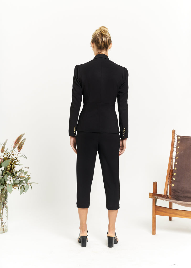 Marlo by Marlo Cropped Pants Black Back