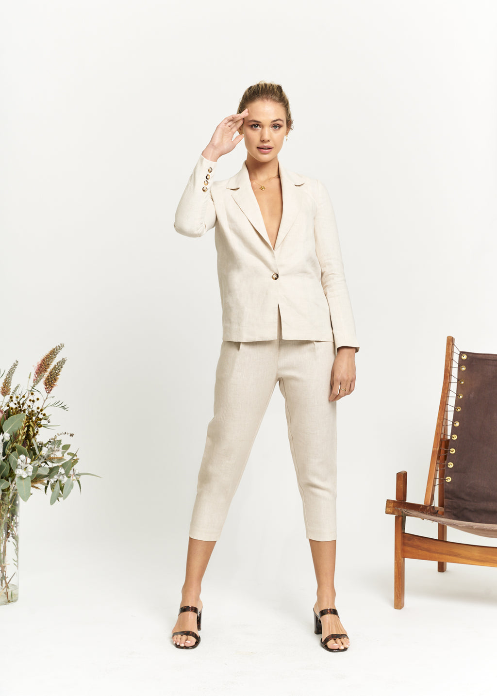 Marlo by Marlo Apostle Linen Suit Cropped