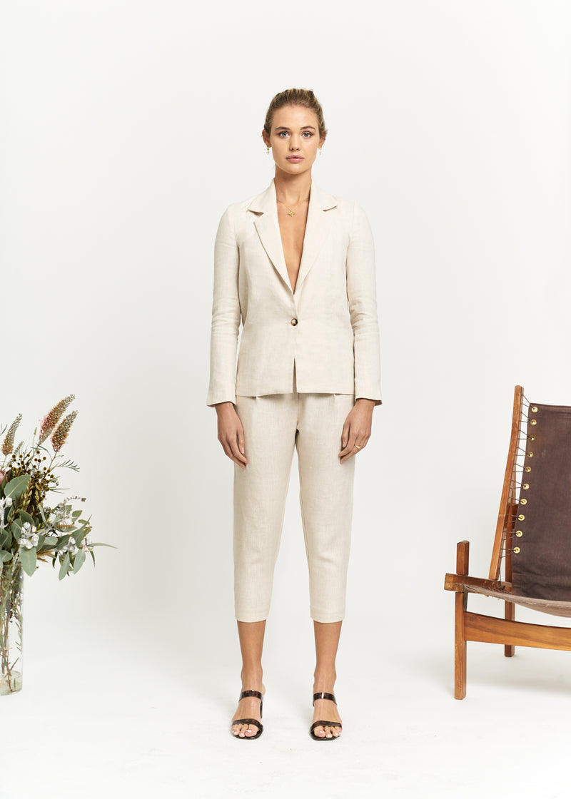 Marlo by Marlo Apostle Linen Suit Cropped Front