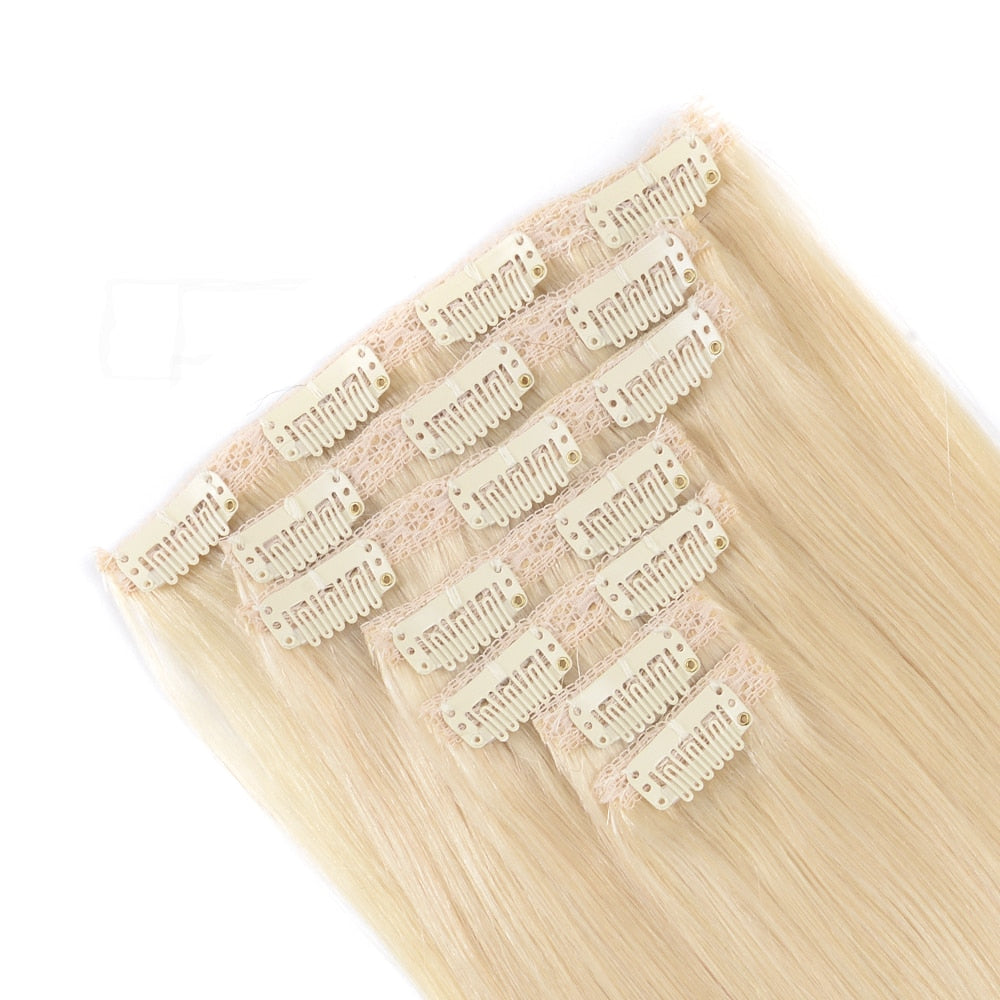 Clip in Remy Human Hair Extensions - #60 colour