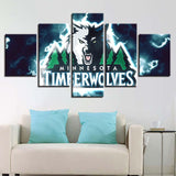 5 Panel Minnesota Timberwolves Modern Decor Canvas Wall Art HD Print