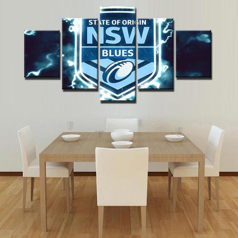 5 Panel Blues-NSW, State of Origin Modern Décor Canvas Wall Art HD Print.