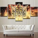 5 Panel Gold Coast Titans Team Modern Décor Canvas Wall Art HD Print.