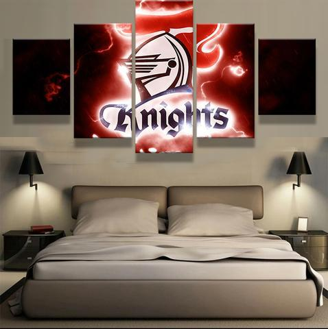 5 Panel Newcastle Knights Team Modern Décor Canvas Wall Art HD Print.