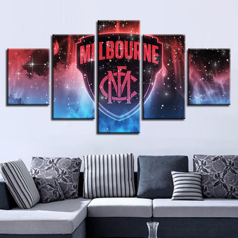 5 Panel Melbourne Football Club Modern Décor Canvas Wall Art HD Print.