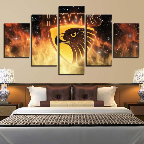 5 Panel Hawthorn Hawks Modern Décor Canvas Wall Art HD Print.