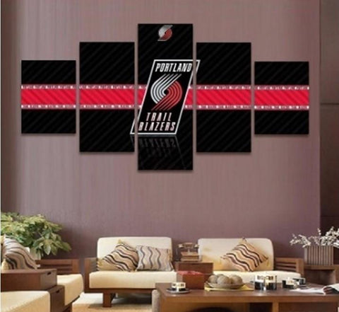 5 Panel Portland Trail Blazers Modern Decor Canvas Wall Art HD Print