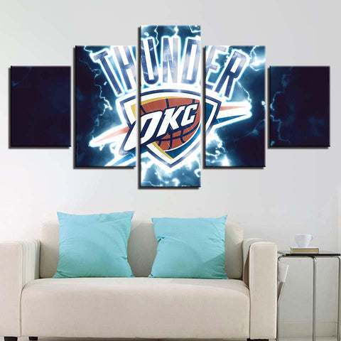 5 Panel Oklahoma City Thunder Modern Decor Canvas Wall Art HD Print