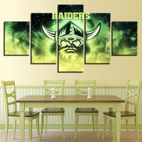 5 Panel Canberra Raiders Team Modern Décor Canvas Wall Art HD Print.