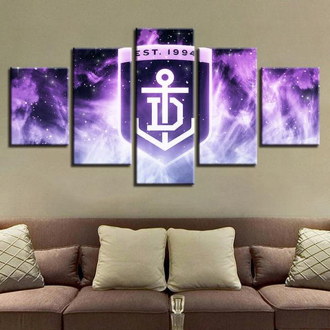 5 Panel Fremantle Dockers Modern Décor Canvas Wall Art HD Print.