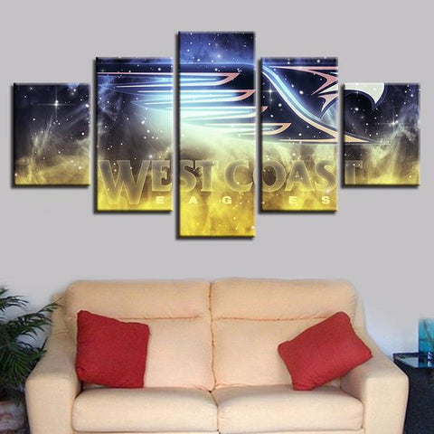 5 Panel West Coast Eagles Team Modern Décor Canvas Wall Art HD Print.