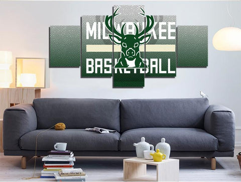 5 Panel Milwaukee Bucks Modern Decor Canvas Wall Art HD Print