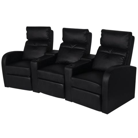 3-Seat Artificial Leather Recliner - Black
