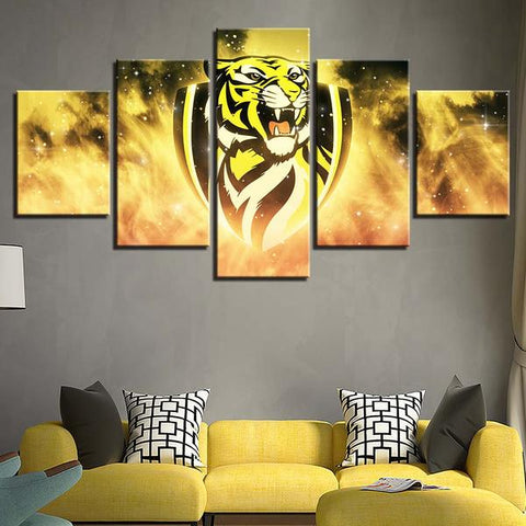 5 Panel Richmond Tigers Team Modern Décor Canvas Wall Art HD Print.