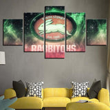 5 Panel South Sydney Rabbitohs Team Modern Décor Canvas Wall Art HD Print.