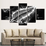 5 Panel New Zealand All Blacks Modern Décor Canvas Wall Art HD Print.