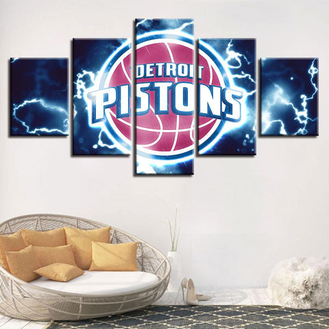 5 Panel Detroit Pistons Modern Decor Canvas Wall Art HD Print