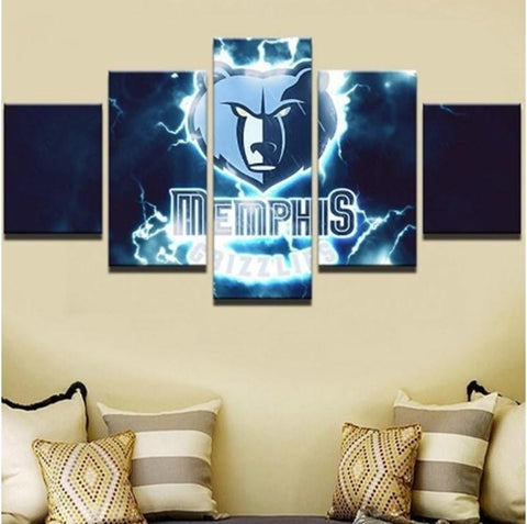 5 Panel Memphis Grizzlies Modern Decor Canvas Wall Art HD Print