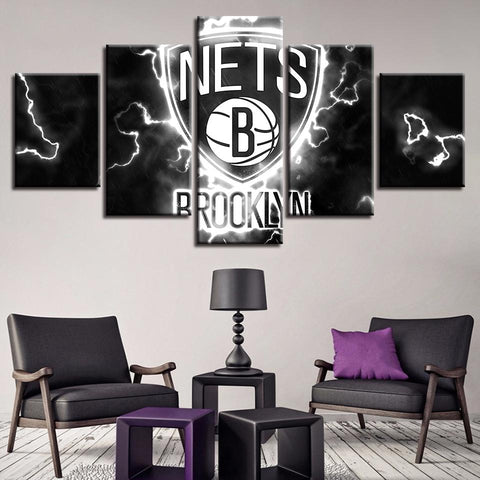 5 Panel Brooklyn Jets Modern Decor Canvas Wall Art HD Print