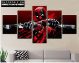 5 Panel Deadpool Modern Decor Canvas Wall Art HD Print