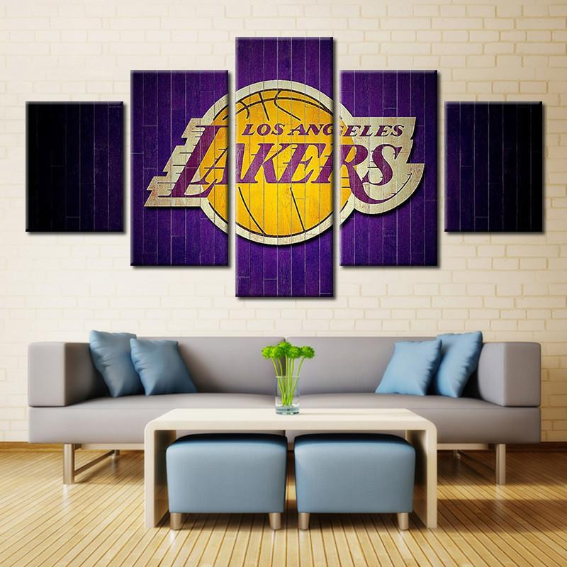 5 Panel Los Angeles Lakers Modern Decor Canvas Wall Art HD Print