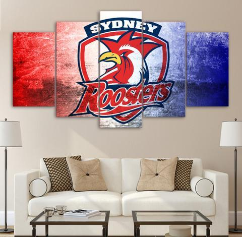 5 Panel Sydney Roosters Logo Décor Canvas Wall Art HD Print.