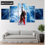5 Panel Thor Super Hero Avengers Modern Decor Canvas Wall Art HD Print