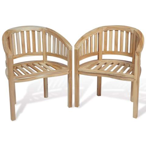 Teak Banana-Shaped Chair 2 Pcs