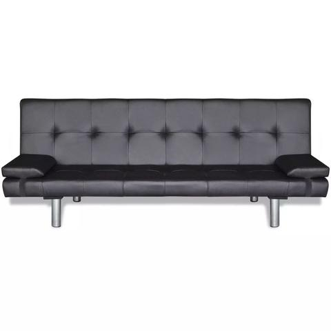Adjustable Sofa Bed With Two Pillows Artificial Leather - Black