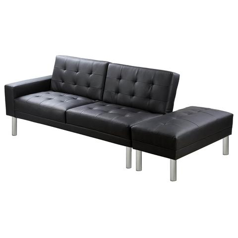 Black Artificial Leather Sofa Bed