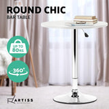 Artiss Adjustable Bar Table Gas Lift Wood Metal White