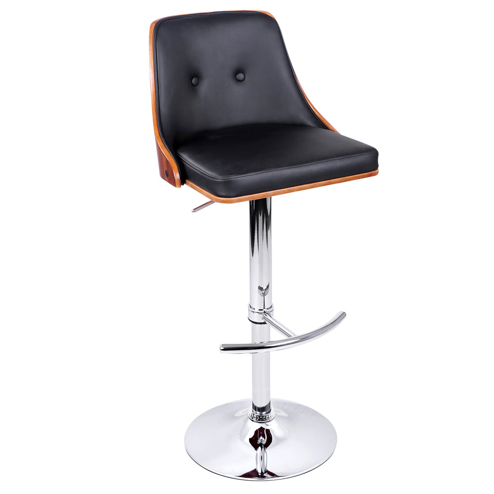 Artiss Wooden Gas Lift Bar Stool - Black