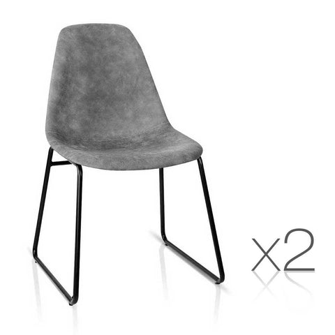 Artiss Set of 2 PU Leather Dining Chairs - Grey