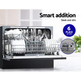 Devanti Benchtop Dishwasher 6 Place Setting Counter Bench Top Dish Washer Black