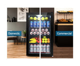 Devanti 115L Bar Fridge Glass Door Mini Freezer Fridges Countertop Beverage Commercial
