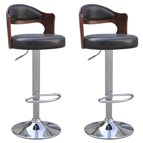 Bar Stools with Cut-Out Bentwood Backrest - Black (Set of 2)