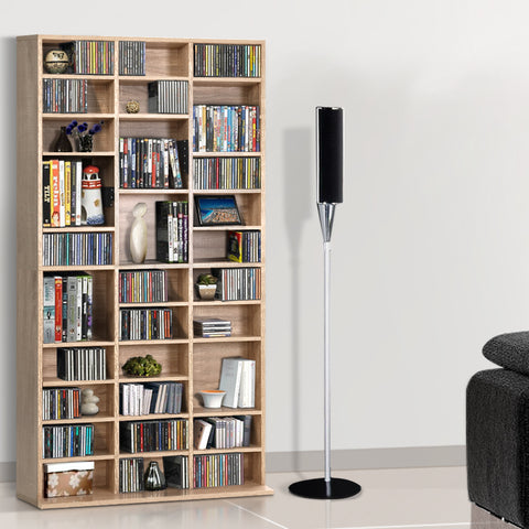 Artiss 528 DVD 1116 CD Storage Shelf Media Rack Stand Cupboard Book Unit Oak