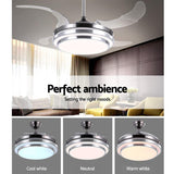 44 Ceiling Fan Lamp LED Light Retractable Blade Ceiling Fan with Remote""