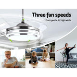 45 Ceiling Fan Lamp LED Light Retractable Blade Ceiling Fan with Remote""