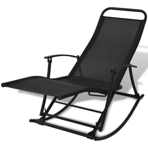 Fold-able Garden Rocking Chair - Black