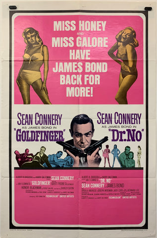 GOLDFINGER / DR NO. (1964) ORIGINAL MOVIE POSTER