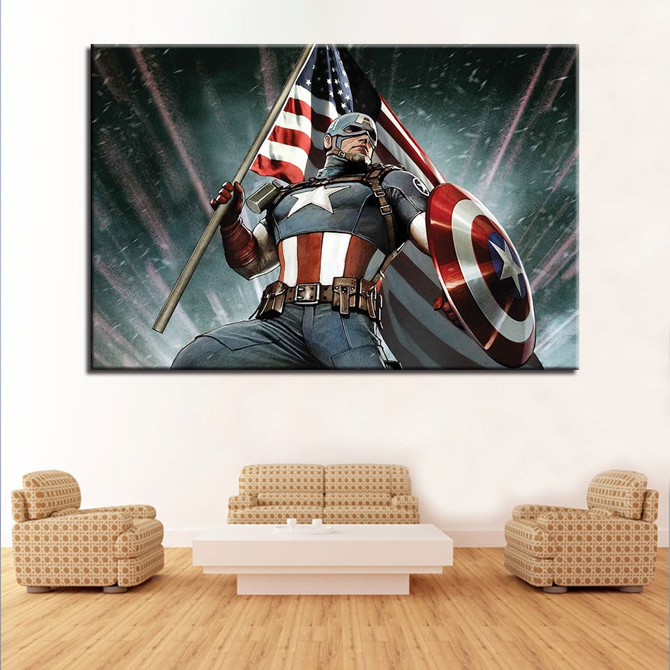 Captain America Poster Style Framed Modern Décor Canvas Wall Art HD Print