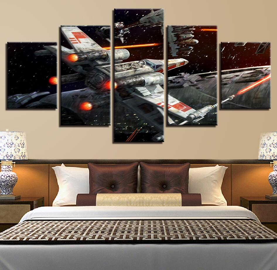 5 Panel Framed Star Wars X-Wing Attacking Modern Decor Canvas Wall Art HD Print