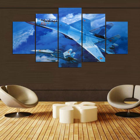5 Panel Two Sukhoi SU-27 Fighter Planes Modern Décor Wall Art Canvas HD Print
