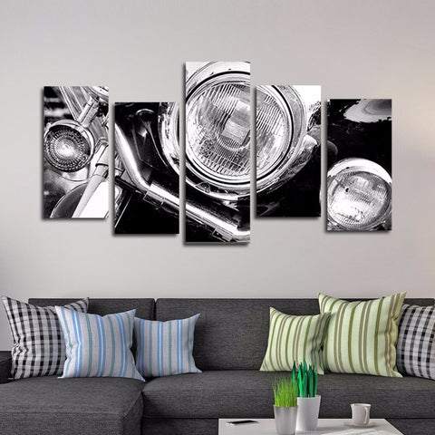 5 Panel Vintage Motorbike Front End Modern Décor Wall Art Canvas HD Print