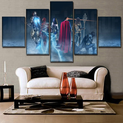 5 Panel Framed Justice League From Behind Modern Décor Canvas Wall Art HD Print