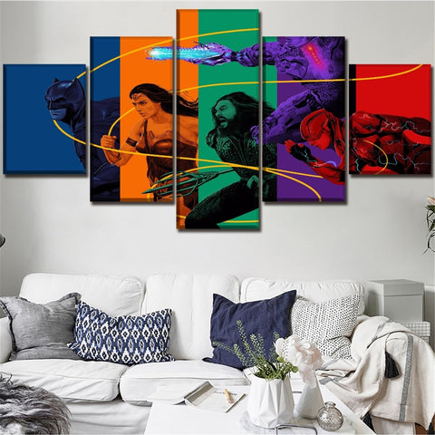 5 Panel Framed Justice League Modern Décor Canvas Wall Art HD Print
