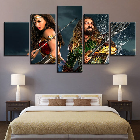 5 Panel Framed Aquaman & Wonder Woman Modern Décor Canvas Wall Art HD Print