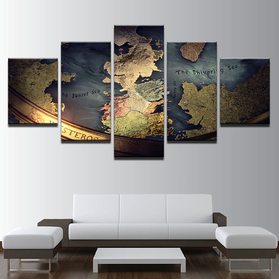 5 Panel Game of Thrones Map of the World Canvas Print – Enterprising Man